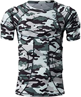 Sponsored Ad - TUOYR Padded Compression Shirt Chest Protector Undershirt for Football Soccer Paintball Shirt