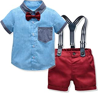 Tem Doger Toddler Baby Boy Shorts Set Gentleman Clothes Short Sleeve Shirt Tops Suspenders Pants Outfits 6M-5T