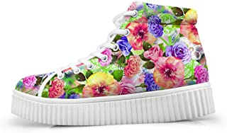Fashion Flower Women Platform Sneakers High Top Shoes