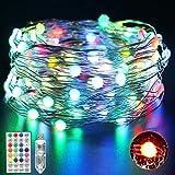 VIMOV Guirnaldas Luces USB, 12M/100 LED Luces Navidad, 16 Colores RGB 12 Modos Cadena de Luces de Hadas con Control Remoto y Temporizador, IP65 Impermeable Multicolores Luces de Hadas para Decoración