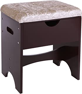 BEWISHOME Vanity Stool Makeup Bench Cushioned Dressing Seat with Storage for Bedroom, Brown FSD01N