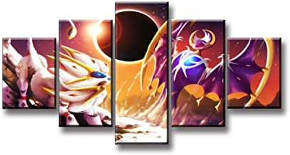 5 pieces of canvas painting Pokemon cartoon character poster HD cartoon picture game poster wall artist home decoration