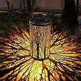 GolWof Solar Lantern Hanging, Outdoor Hanging Solar Garden Lights Decorative Retro Metal Waterproof Solar Lamp for Patio Yard Pathway Terrace