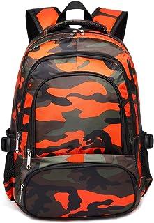 Kids Backpacks for Boys Camouflage Elementary School Bags Bookbags  Lightweight Durable (Camo Orange) 14776f8e7e2e3