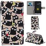 Ooboom® Funda para LG G5 Flip Wallet Case Cover Elegante Carcasa Piel PU Billetera Soporte con Ranuras Tarjetas Correa de Muñeca Cierre Magnético - Gato Negro