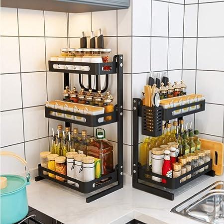 PAKASEPT Especiero de cocina, Soportes para Botes de Especias, Organizador Especias Acero inoxidable, Estanterías metálicas para especias con 2 ...
