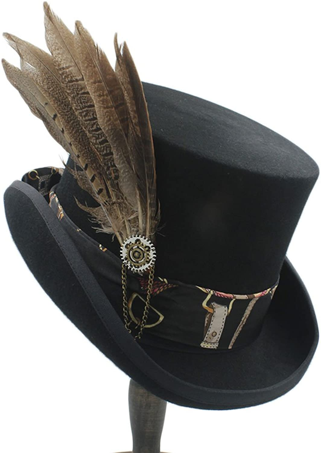 SKKMALL women wen fodora steampunk hat with Gear wheel top hat