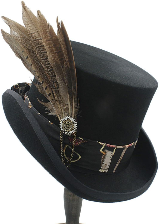 comprar barato SCSY-Sombrero Sombrero Sombrero Sombrero Plano de Lana Hecha a Mano de Cilindro Alto Sombrero de Halloween Hat Hat con Sombrero de Rueda de Engranaje para Mujeres y Hombres (Color   1, Talla   55cm)  precio razonable