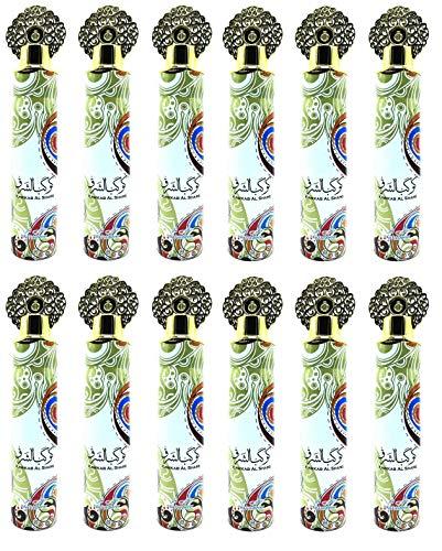 KAWKAB AL SHARQ 300 ml ambientador interior hogar coche spray textil elimina los olores encarcelados en los tejidos con perfume fresco. Notas: casi, pera, jazmín, Iris (lote de 12)