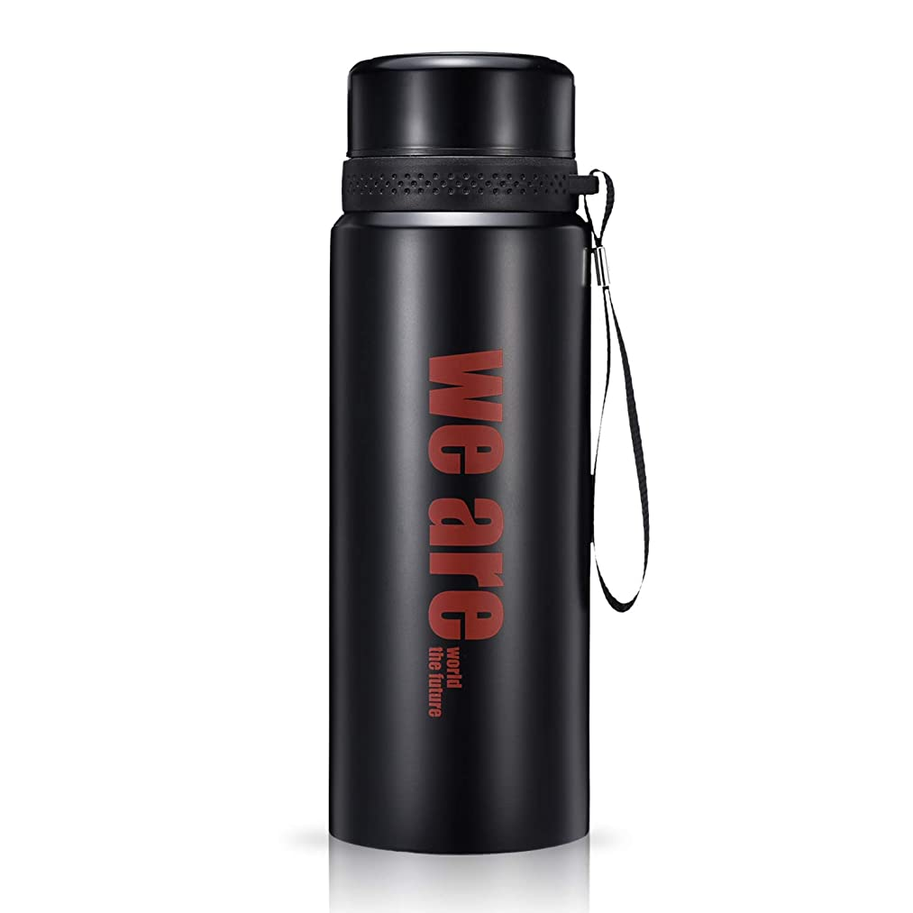 Diller Vacuum Insulated Water Bottle Large Stainless Steel Thermos Coffee Travel Mug with Tea Infuser,Keeps Cold 24, Hot 12 Hours,32 oz (Black)