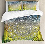 Ambesonne Ethnic Duvet Cover Set, Mystic Mandala Culture Karma Calmness and Harmony Boho Design, Decorative 3 Piece Bedding Set with 2 Pillow Shams, King Size, Multicolor