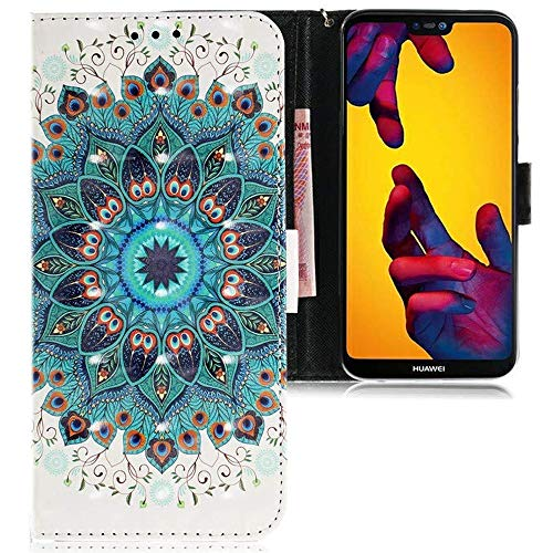CLM-Tech kompatibel mit Huawei P20 Lite Hülle, PU Leder-Tasche mit Stand, Kartenfächern, Lederhülle Kunstleder, Blume Ornament grün Mehrfarbig