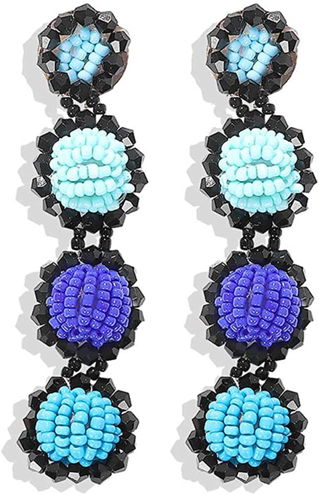 Statement Beaded Earrings Bohemian Handmade Statement Beaded Drop Earrings Fashion Long Multicolor Beaded Ball Dangle Earrings for Women Girl Wedding Jewelry