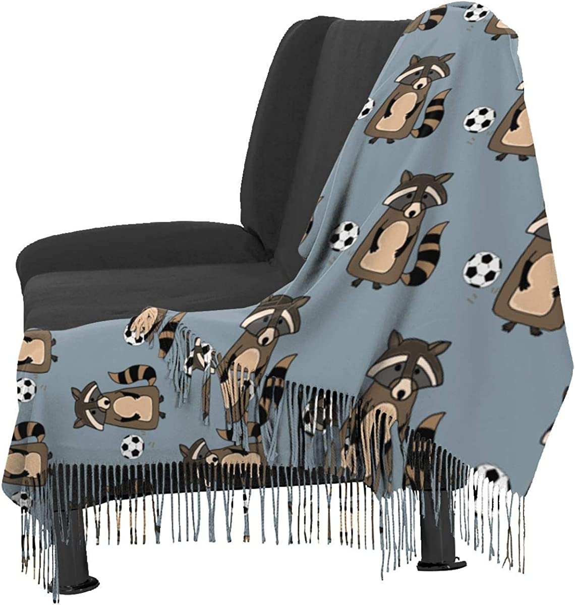 Raccoon Playing Soccer Cashmere Shawl Wrap Scarf Large Warm Scarf For Women