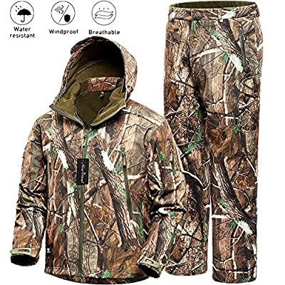 Camo Jacket New View Waterproof Hunting Camouflage Hoodie Military Jacketor and Pants for Unisex X-Large