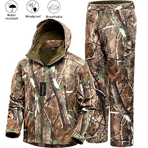 NEW VIEW Hunting Jacket Water Resistant Hunting Camouflage Hooded for Men,Hunting Suit (Camo3, L)