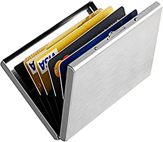 Enyoir Slim RFID Credit Card Protector Wallet, Block Identity Thieves, Stainless Steel Aluminum Metal Holder Case with 6 P...