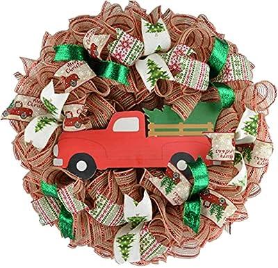 Clearance Christmas Tree Farm Truck Wreath   Rustic Christmas Wreath   Front Door Wreath   Red Jute Green