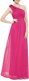 Ever-Pretty Vestito da Sera Donna Chiffon A Fiori Una Spalla Stile Impero Senza Maniche 08237