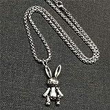 NC190 Collar de Conejo de Acero Inoxidable, articulación Que se Puede Mover, Red roja Simple y Larga, Ins de Moda, Todo Alrededor, Cadena de suéter para Hombres y Mujeres