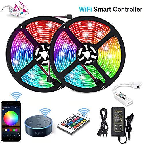 Litake WiFi LED Streifen 10M, Wireless LED Bänder 300LED Sync mit Musik RGB 16 Mio Farben Smart Phone APP Kontrolle Fernbedienung WLAN IP65 Kompatibel mit Google Home, Amazon Alexa, Echo, IFTTT