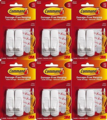 Command Indoor Hooks, 12 Medium Hooks, Indoor White, Holds 3 Lbs.