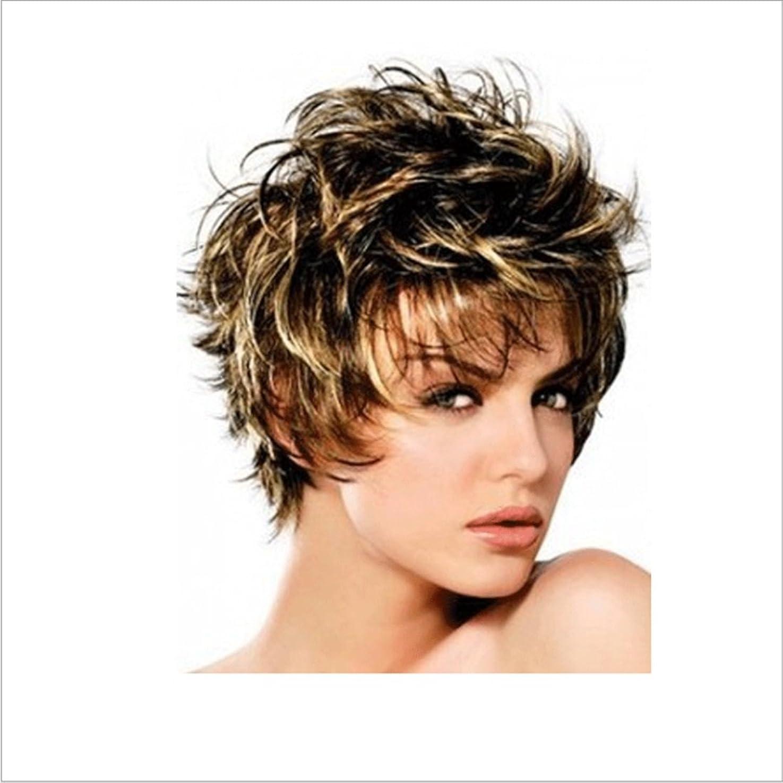 担当者ホテル分かつら ボボかつら女性用耐熱ウィッグ12インチ/ 9インチ短いテクスチャ部分的なかつら部分的なかつら前髪かつらファッションかつら (色 : Inter-color gold brown silver)