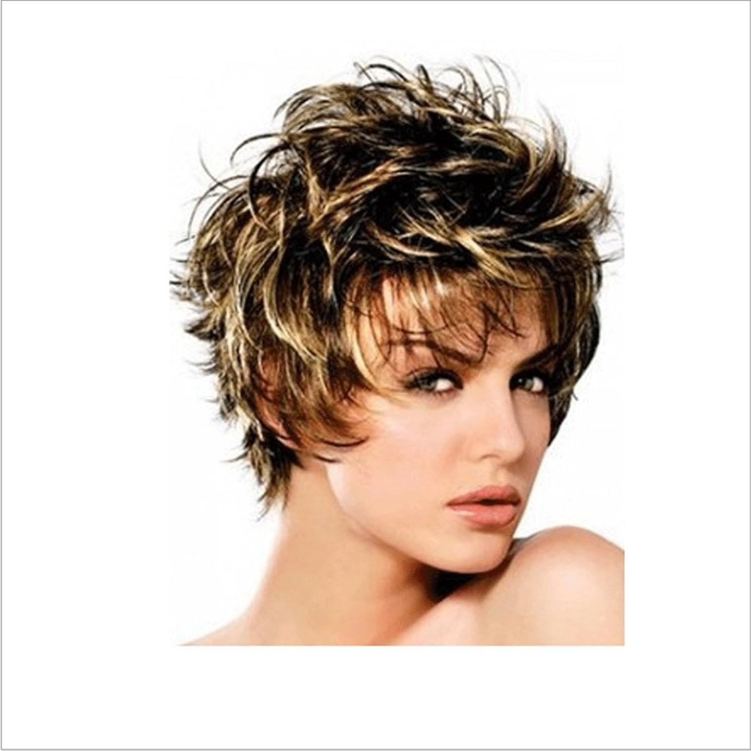 懸念キャリッジ間接的かつら ボボかつら女性用耐熱ウィッグ12インチ/ 9インチ短いテクスチャ部分的なかつら部分的なかつら前髪かつらファッションかつら (色 : Inter-color gold brown silver)