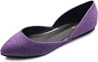 Ollio Women's Shoes Glitter Casual Comfort Light Pointed Toe Ballet Flats F112