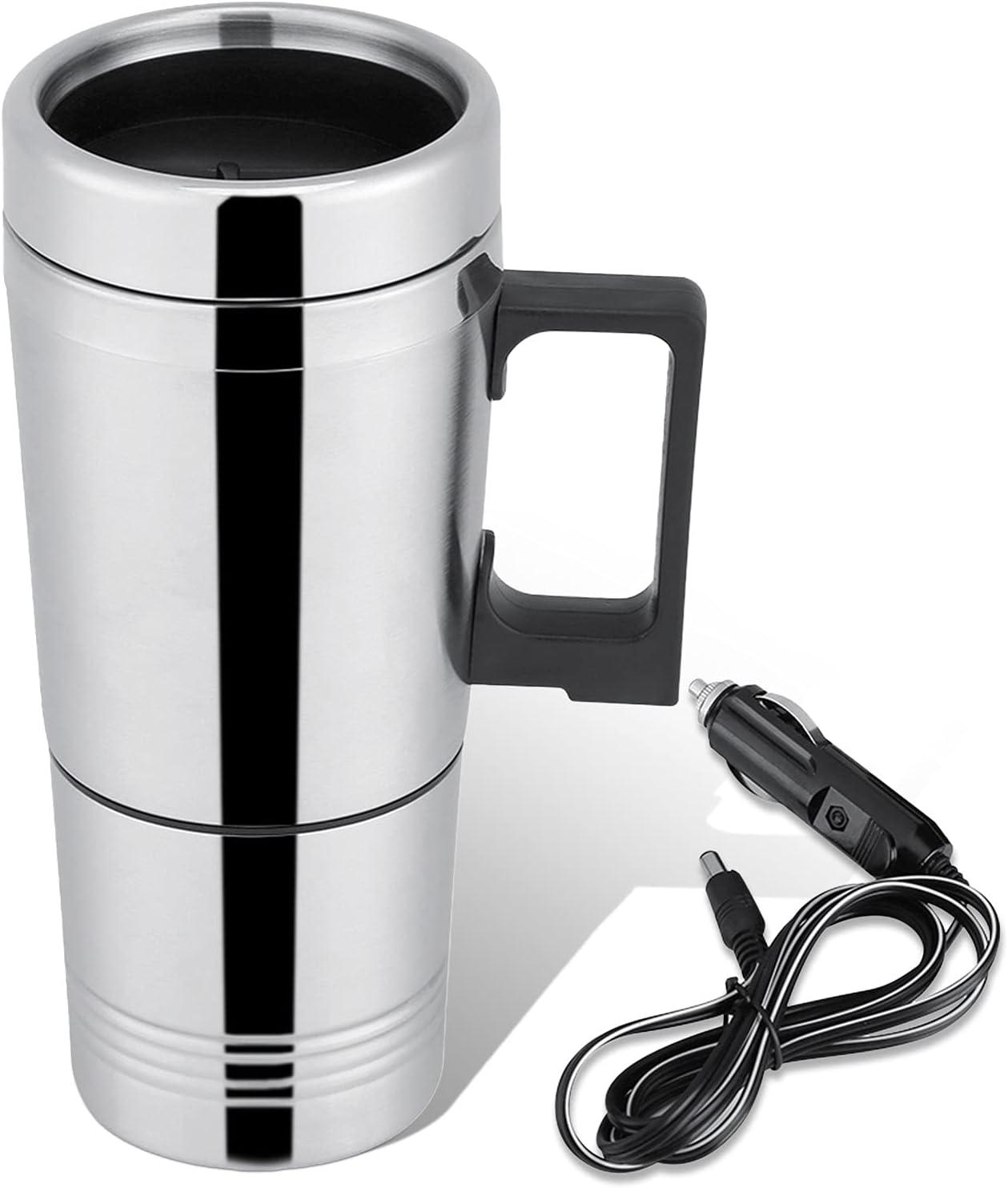 HERCHR Hervidor eléctrico del Coche del Viaje de 12v/24v 300ml, Taza de la calefacción del Coche del Acero Inoxidable para el Agua, té, café, Leche(12V)