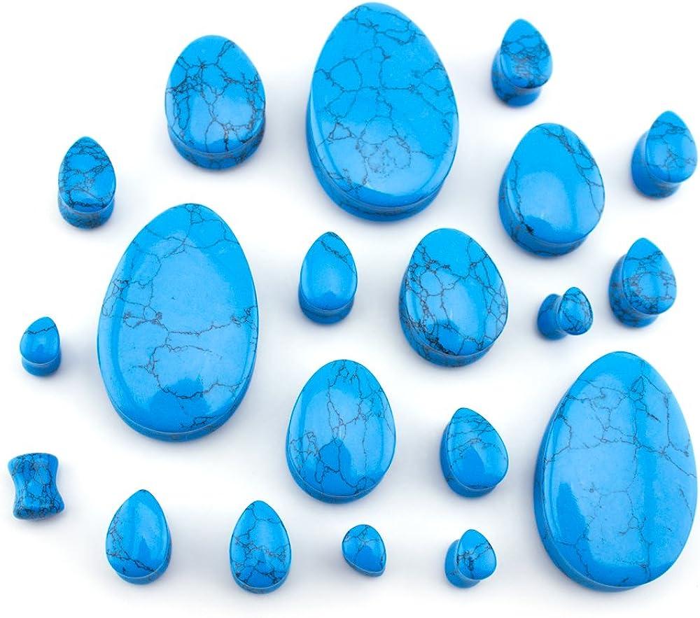Urban Body Jewelry 1 Pair of 0 Gauge (0G - 8mm) Turquoise Howlite Stone Teardrop Plugs/Gauges