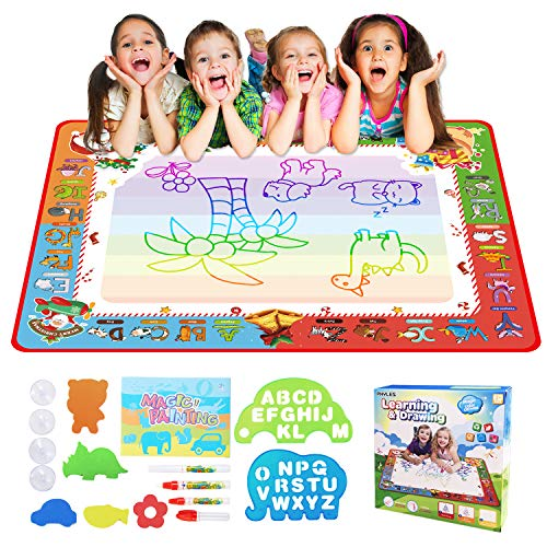 PHYLES Wasser Doodle Matte, Super Regenbogen Deluxe Größe 100 * 70 cm Doodle Matte, Kein Chaos Färben & Zeichnen Spiel, Lernspielzeug & Aqua Matte für Kleinkinder ab 3 Jahren (groß)