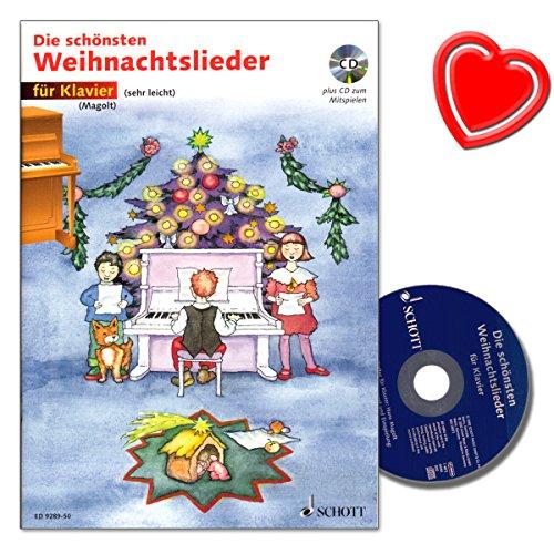 Die schönsten Weihnachtslieder mit CD für Klavier (sehr leichte) von Hans und Marianne Magolt - mit bunter herzförmiger Notenklammer