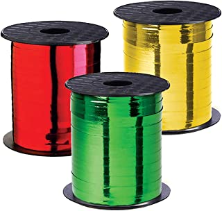 Christmas Ribbon - Curling Gift Ribbon Xmas Set of 3 Rolls Red Green Gold Curling Ribbons Thin for Holiday Gifts Wrapping ...