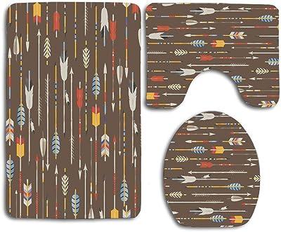 NA Indian Arrows in Native 3Pcs Juego de baño Alfombra Alfombra de Contorno + Tapa de Inodoro + Alfombrillas de baño