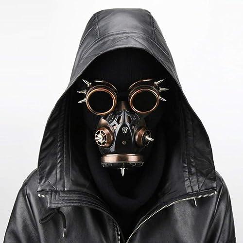 SHIZHESHOP Biogefürdung Steampunk Gasmaske Brille Spikes Skelett Krieger Tod Maske Maskerade Cosplay Halloween Kostüm Requisiten (Farbe   Brass)