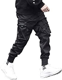 Astellarie Mens Casual Pants Multi-Pockets Fashion Cargo Joggers Gym Drawstring Long Pants