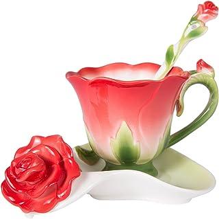 BAIGIO Ensemble de Tasses à café, Tasses à thé Chinoises Service à café 3 pièces en Porcelaine Vintage, dans Un Coffret Ca...