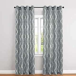 Curtains Linen Blend Textured Moroccan Tile Print Geometry Lattice Drapes 1 Pair