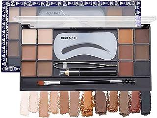 کیت پودر کانتور ابرو SUMEITANG 12 رنگ ، با استنسیل ابرو/مداد ابرو/موچین/برس ، پالت چند منظوره برای آرایش کانتور ابرو ، حتی برای سایه و سایه چشم مناسب است.