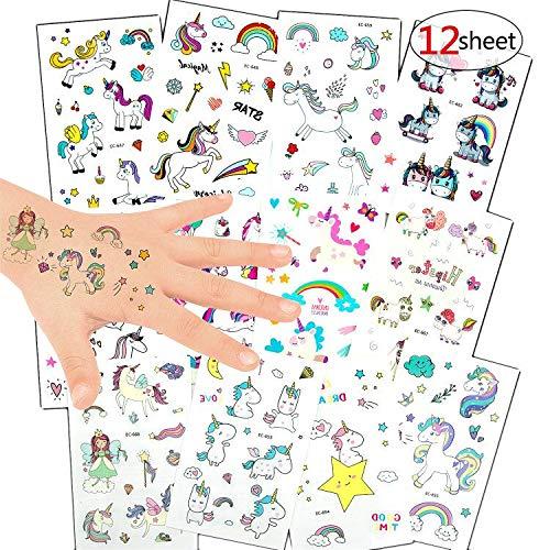 Vordas Welecoco Tatuajes Temporales Niños,Unicornio Tatoos Infantiles Calcomanias para Niños Etiquetas adhesivas Tatuajes Temporales para Infantiles de Cumpleaños Regalo(12Pcs)