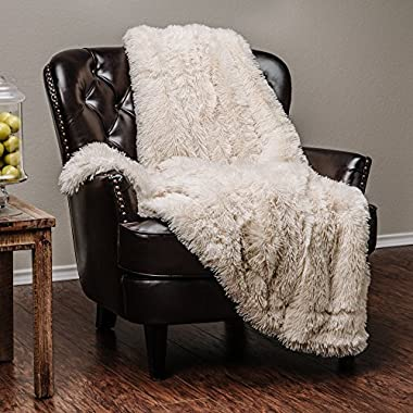 Chanasya Super Soft Shaggy Longfur Throw Blanket | Snuggly Fuzzy Faux Fur Lightweight Warm Elegant Cozy Plush Sherpa Fleece Microfiber Blanket | for Couch Bed Chair Photo Props - 50 x 65  - Cream