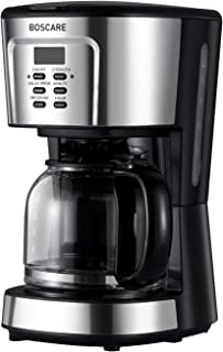 BOSCARE programmable coffee maker,2-12 Cup Drip Coffee maker, Mini Coffee Machine with Auto Shut-off,Strength Control,Silver Black