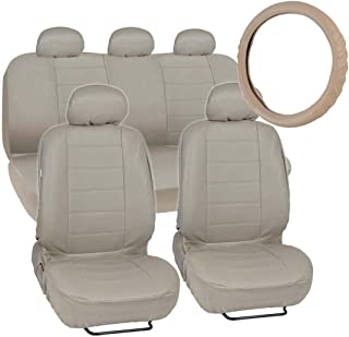 Motor Trend Premium Leatherette Car Seat Covers - Taupe Beige PU Leather w/Comfort Grip Steering Wheel Cover