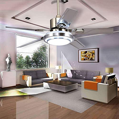 discount Reversible popular Ceiling Fan Lights with 5 Stainless 2021 Steel Blade LED Dimmable Chandelier Fan with Remote Mute Ceiling Fans for Dining Room/Bedroom 42 Inchs online