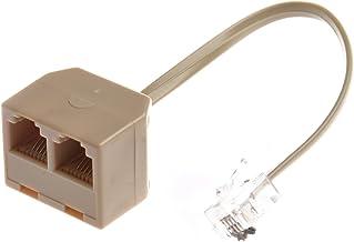 SODIAL(R) Adaptador Divisor de Telefono RJ11 Macho a Doble RJ11 Hembra
