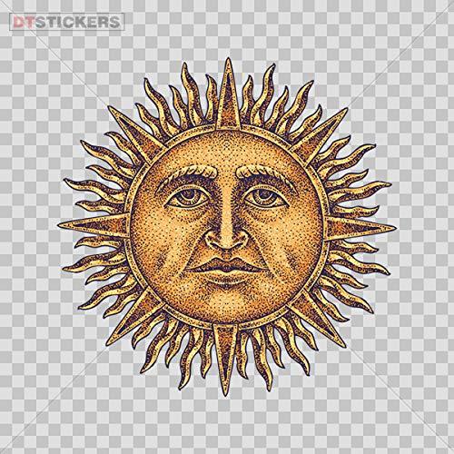 Decoration Vinyl Stickers Gold Sun God Tattoo Style Decoration Vinyl 3 X 3 in.