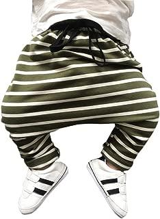 Bfsports Toddler Kids Stripe Cotton Elastic Waist Casual Pants Baby Sports Active Harem Sweatpants