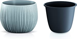 Set of 2 Planter Flower Pots with Inserts, Lightweight Indoor Outdoor Patio Garden (Concrete Style, 8 inch & 5.5 inch)