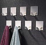 ZUNTO Crochet Adhésif 3M Crochets muraux Porte Serviette Inox Crochets pour Serviettes pour Cuisine Salle de Bain, 8 Pièces